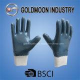 Голубая перчатка работы безопасности ладони нитрила польностью окунутая Coated