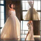 Vestido de casamento destacável longo retro G17248 do trem de Tulle dos vestidos nupciais das luvas