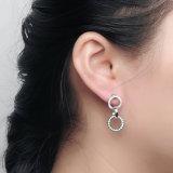 OEM de Zwarte Juwelen van de Oorring van het Plateren Zilveren voor Vrouwen (e-0192-1)