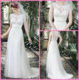 Vestidos de casamento Mint completos W176281 do laço de Tulle dos vestidos nupciais do Neckline do barco
