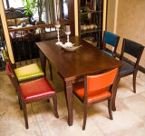 Empilar el vector y la silla tallados Antiqued madera francesa casera principal barata de Upholatered de la venta al por mayor de los muebles