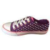 Qualitäts-spätestes Entwurfs-Kind-rosafarbene/schwarze Stern-Druck-Segeltuch-Fußbekleidung