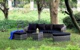 sofà del rattan del balcone del salone del cortile by-425 con tre sgabelli del piede