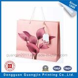 Rosafarbene Blume gedruckte Kunstdruckpapier-Einkaufstasche mit Griff