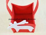 ギフトの包装のためのシカの形の赤のフェルトのハンドル袋