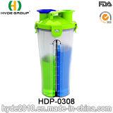 携帯用プラスチックBPAは放すPPのシェーカーのびん、プラスチック蛋白質の粉のシェーカーのびん(HDP-0308)を