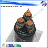 Cable acorazado de la energía eléctrica del voltaje XLPE del aislamiento de la envoltura ignífuga media del PVC