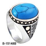 Anel novo dos homens do azul de turquesa da prata esterlina dos projetos 925