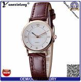 2015 relógios na moda da mão de quartzo da etiqueta confidencial de couro genuíno de Japão Movt para o homem