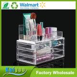 4 cajones de acrílico del maquillaje de los cosméticos Organizador con la sección Top