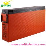 Batterie de télécommunication solaire 12V200ah de gel terminal avant rechargeable profond de cycle