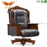 Cadeira de couro usada, cadeira de couro executiva, cadeira de couro avermelhada do escritório