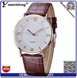 Relógio na moda da mão de quartzo da etiqueta confidencial de couro genuíno de Yxl-846 Japão Movt para o homem