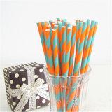 Alta calidad de grado alimenticio colorido de la paja de papel de consumición doble rayado