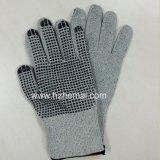 PVC-Punkte schnitten beständigen Handschuhe Hallo-Kräfte Grün-Sicherheits-Arbeits-Handschuh