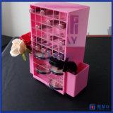 Cor branca e cor-de-rosa personalizada que gira o carrinho de indicador acrílico do batom