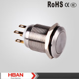 interruptor de pulsador momentáneo del metal de 5A 250VAC 19m m