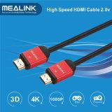 Cable plateado oro trenzado de nylon 2.0 de 24k HDMI 1.4