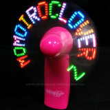 Mini ventilatore LED lampeggiante messaggio chiaro con logo stampa (3509)