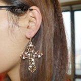 Orecchini di goccia trasversali vuoti placcati oro del Rhinestone per le donne