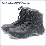 Zapato de seguridad de acero del alto del corte de la acción negro liso del cuero