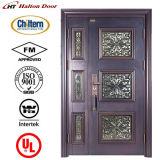 Дверь высокого качества стальная с стеклом для виллы/роскошной стальной двери обеспеченностью/двери виллы/двери сада