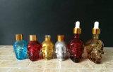 Botella de cristal Shaped 30ml del cuentagotas del cráneo para el petróleo esencial