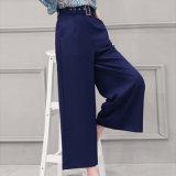 2016 pantalones azules de Palazzo del nuevo diseño para los pantalones anchos de la pierna de las señoras de las mujeres