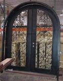 Portas de entrada novas superiores quadradas do dobro do ferro feito do projeto