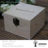 Hongdao 공장 가격 자연적인 색깔 소나무 주문 로고 _E를 가진 나무로 되는 노리개 상자