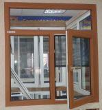 Ventana de cristal de color de la película del marco revestido de madera de lujo del PVC con Grill Diseño (PCW-024)