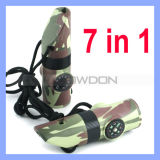 7 In1 Survival Whistle mit Compass Thermometer Magnifier und LED Flashlight (WHISTLE-001)