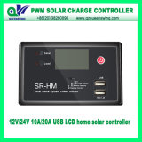 10A/20A 12V/24V LCD PWM Solar Battery Charge Controller com USB