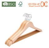 Gancho de madeira do uso do vestuário do supermercado para a venda por atacado (MC010)