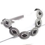 Prata antiga colar de couro preta oval chapeada do Choker