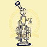 Rauchendes Wasser-Rohr 12 Zoll 5mm Recycler-Tabak-grosser hoher Farben-Filterglocke-Glasfertigkeit-Aschenbecher GlasPipesfreezable Ring Illadelph Shisha Glaswasser-Rohr-