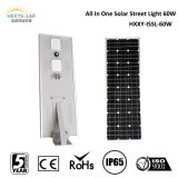 Dimmable Motion Sensor CER RoHS IP65 60W Solar Street Light mit Lithium Battery Backup