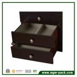 Tranditional様式の黒の4つの引出しが付いている木の宝石類の収納箱