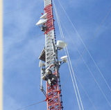 통신을%s 4개의 다리 Guyed 탑이 고품질 강철에 의하여 직류 전기를 통했다