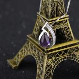 鎖が付いている女性925の純銀製の自然な紫色の水晶吊り下げ式のネックレス