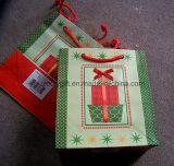 Sac de papier estampé par coutume chaude d'emballage de Noël de vente