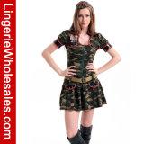 Halloween-Partei-Reißverschluss-Vorderseite Camo der Frauen Abendkleid-reizvolles Armee-Gör-Kostüm