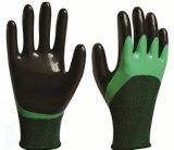 Nylon перчатки безопасности 13G при покрынный нитрил усиленный перстом