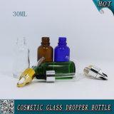 botella de cristal redonda de Boston del tubo azul verde ambarino/claro de 30ml con el cuentagotas para el líquido del petróleo esencial