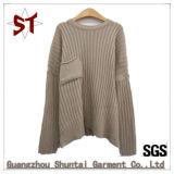 Frauen-runder Stutzen-Long-Sleeved reine Farben-Twill-Strickjacke