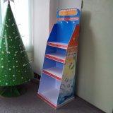 Estante de visualización promocional estacional de suelo de la cartulina con los ganchos de leva para los juguetes