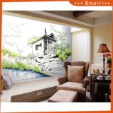 Деревянная дом на картине маслом реки на холстине для искусствоа стены вися