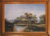 Peinture à l'huile de paysage avec l'armature de peinture à l'huile