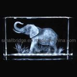 Cubo cristalino del elefante 3D (ND11072)