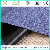 El PVC negro vendido popular cubrió la tela de materia textil del hilado del catión 600d usada para el morral